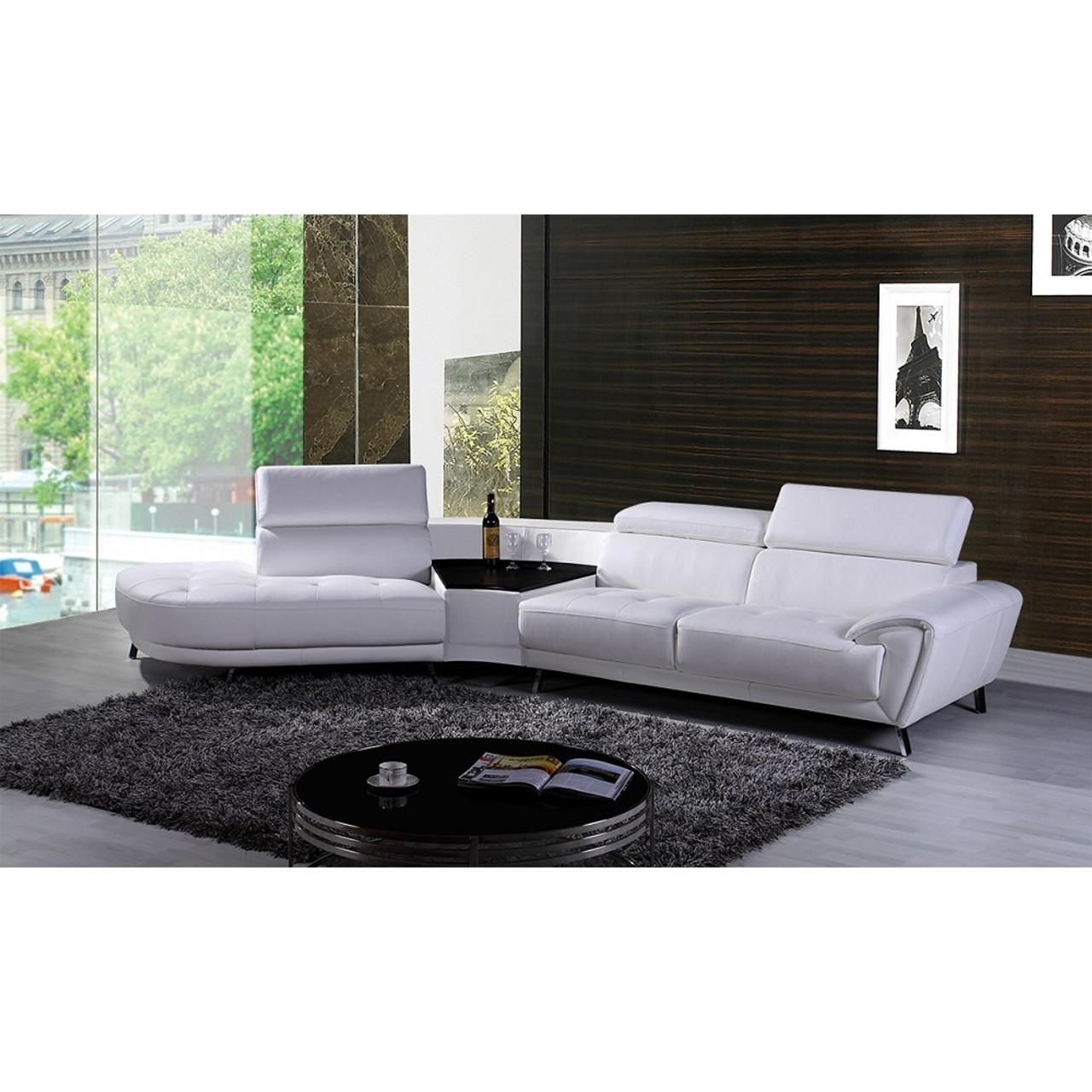 Divani Casa Raizel Modern White Leather Sectional Sofa W Left