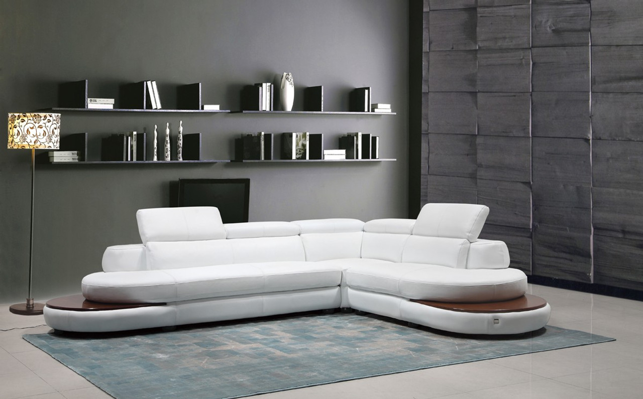 Divani Casa Killian Modern White Italian Leather Sectional Sofa ...
