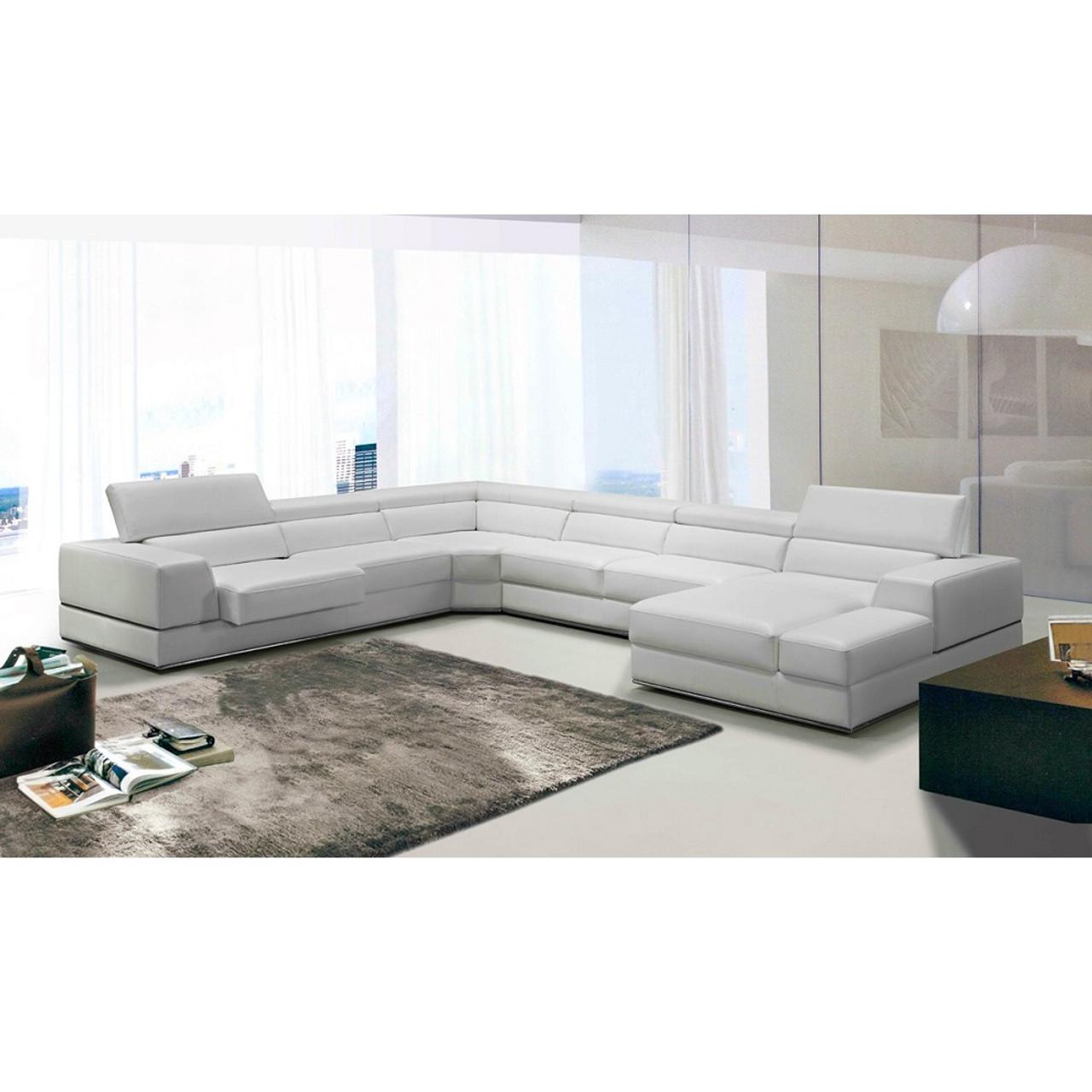 Divani Casa Pella Modern White Italian Leather Sectional Sofa