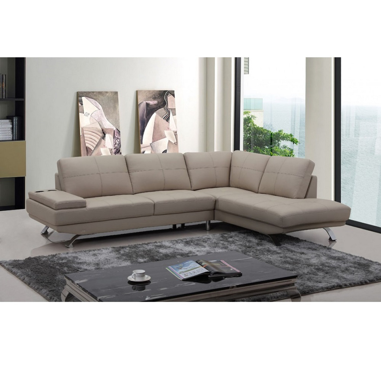 Superb Divani Casa Knight Modern Beige Leather Sectional Sofa Caraccident5 Cool Chair Designs And Ideas Caraccident5Info