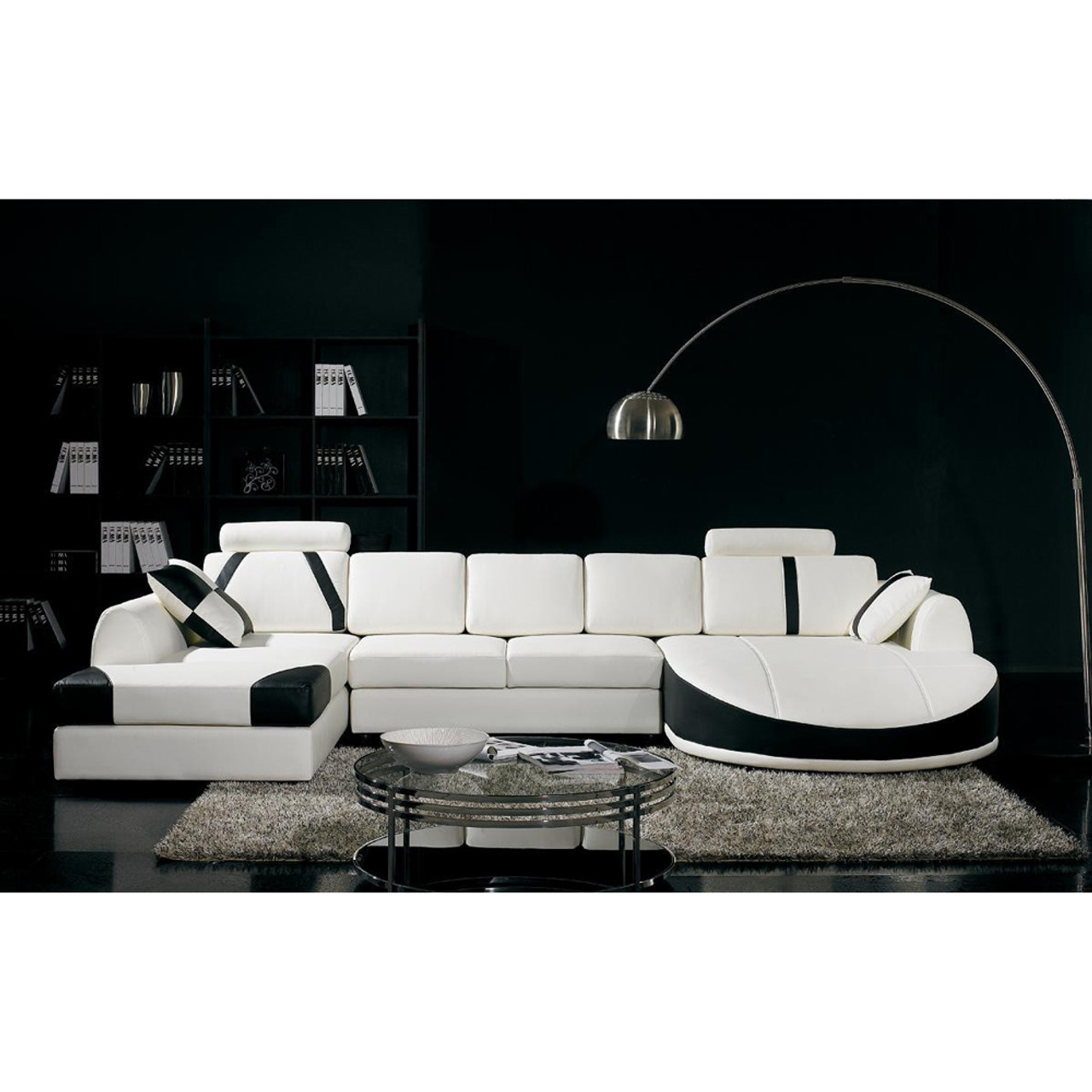 Divani Casa T57 Modern White and Black Bonded Leather Sectional Sofa ...