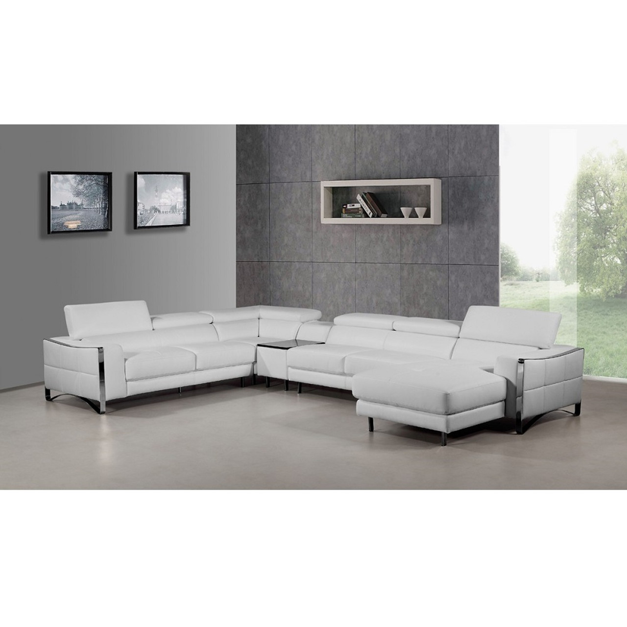 Awe Inspiring Divani Casa Arles Modern White Leather Sectional Sofa Ocoug Best Dining Table And Chair Ideas Images Ocougorg