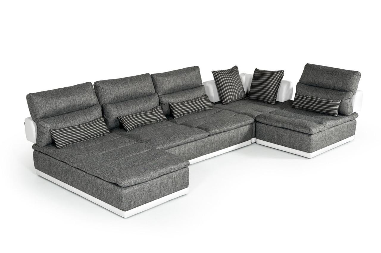 David Ferrari Panorama Italian Modern Grey Fabric and White Leather  Sectional Sofa