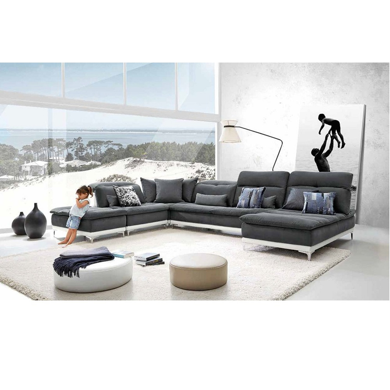 David Ferrari Horizon Modern Grey Fabric Leather Sectional Sofa
