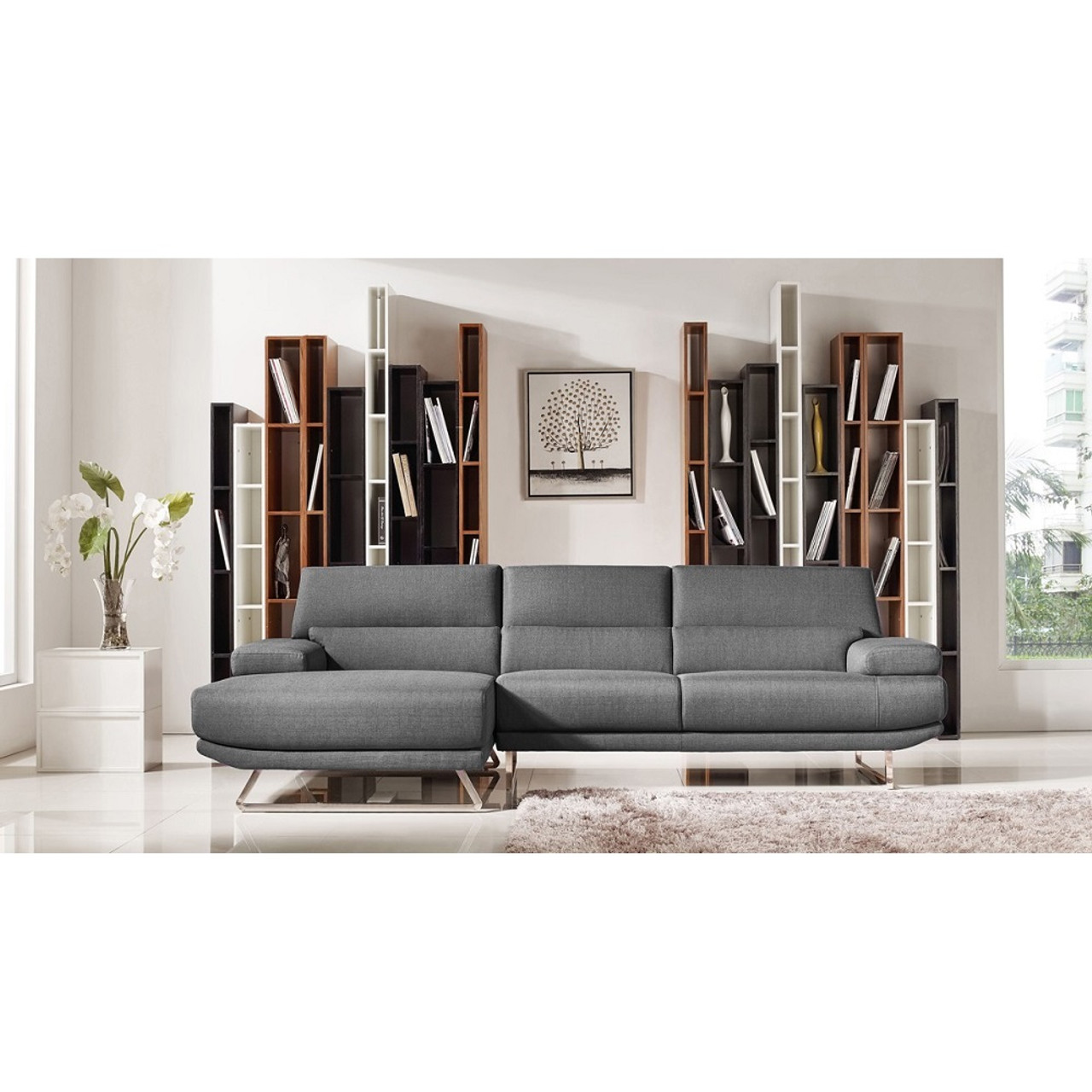 Divani casa trinidad modern grey fabric sectional sofa lounge la