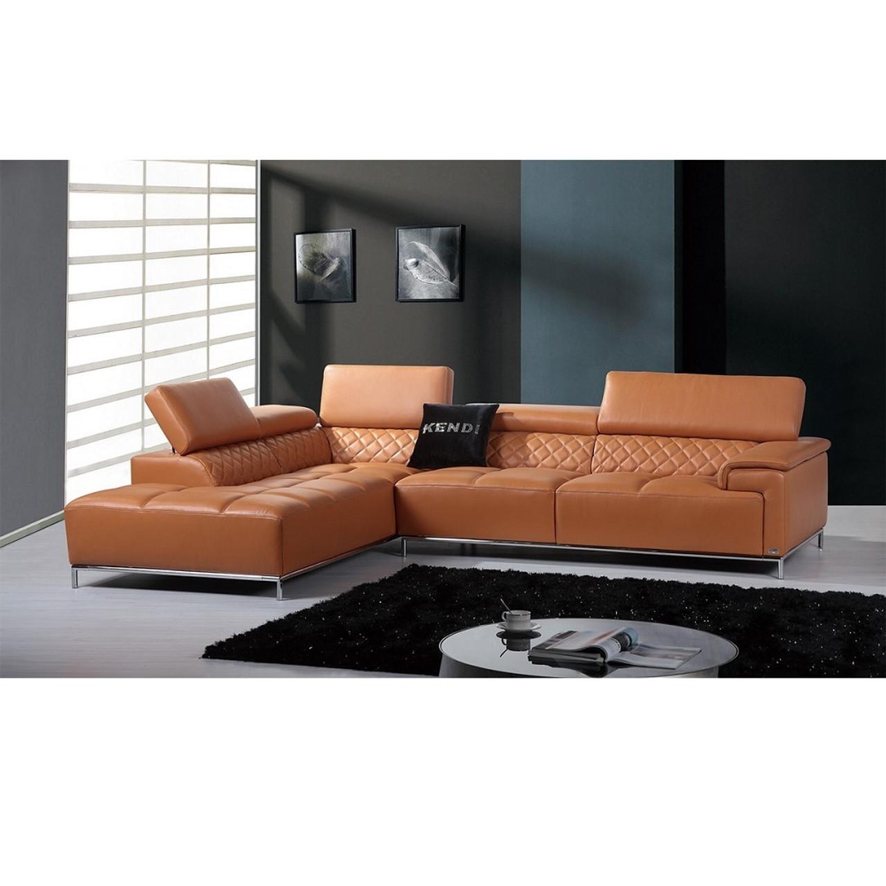 Divani Casa Citadel Modern Orange Italian Leather Sectional Sofa ...