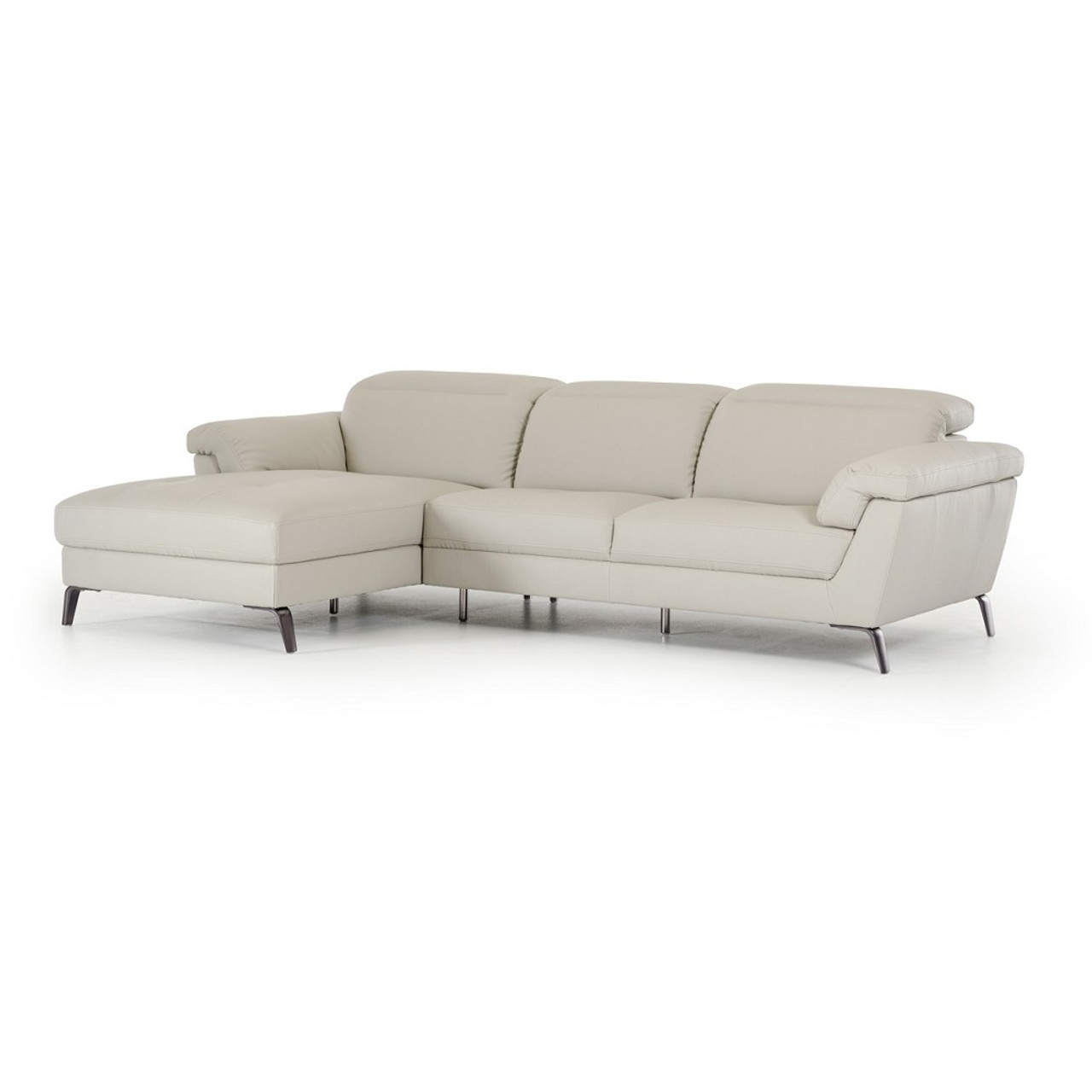 Divani Casa Edelweiss Modern Light Grey Eco Leather Sectional Sofa Lounge La