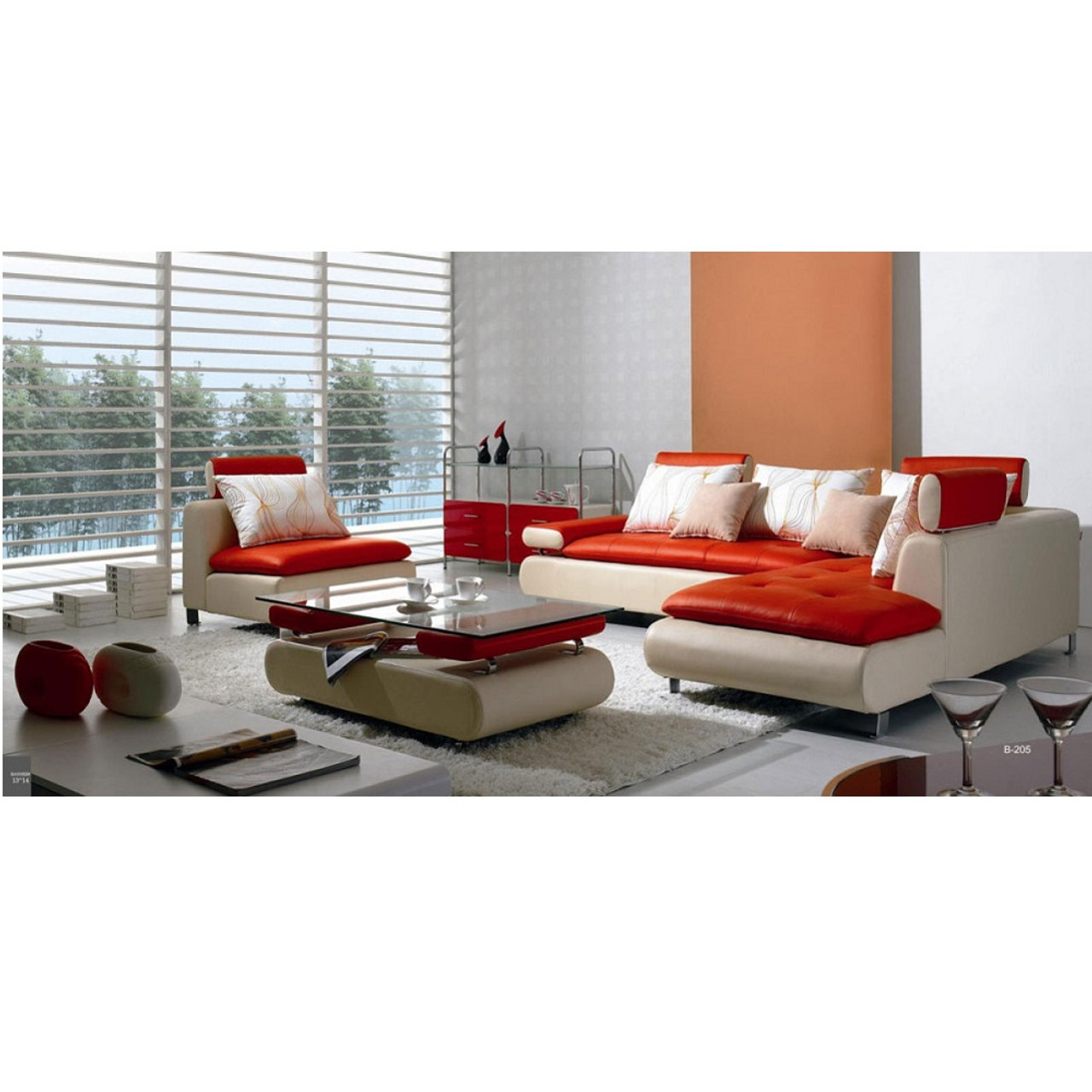 Divani Casa B205 - Modern White & Red Leather Sectional Sofa Set ...