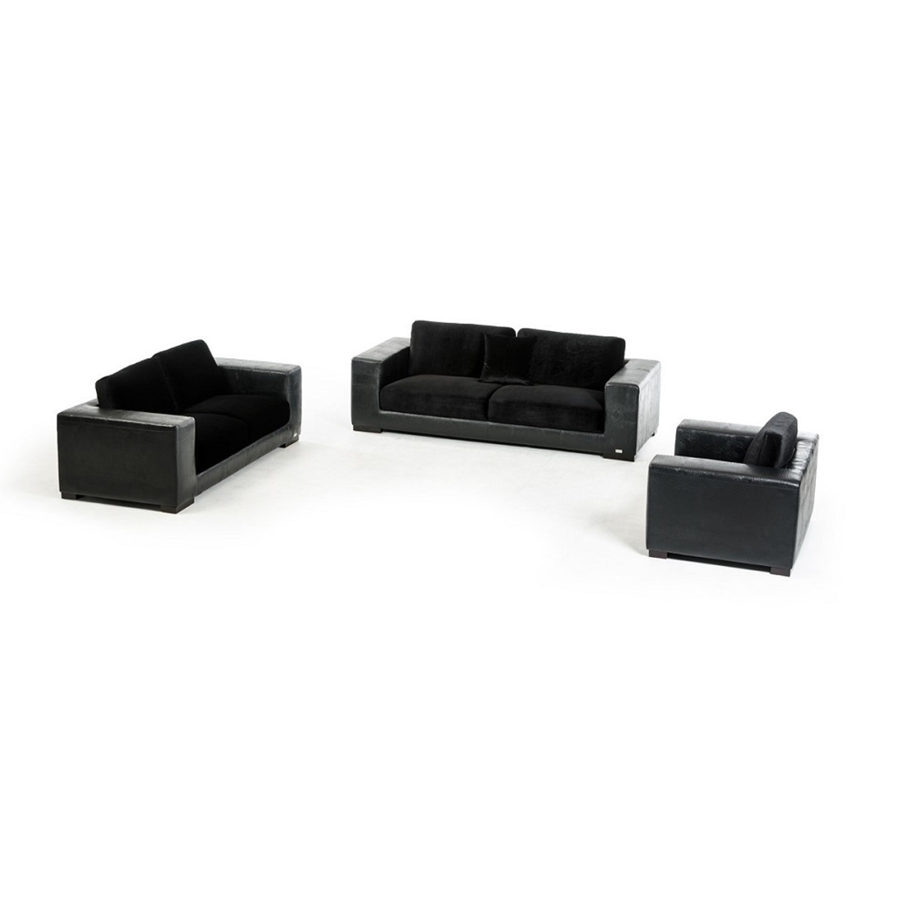 Enjoyable Divani Casa Legrande Modern Black Crocodile Leatherette Sofa Set Gamerscity Chair Design For Home Gamerscityorg
