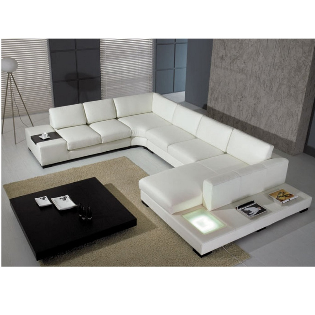 Marvelous Divani Casa T35 White Italian Leather Sectional Sofa With Light Andrewgaddart Wooden Chair Designs For Living Room Andrewgaddartcom