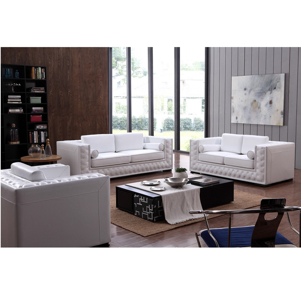 Pleasant Divani Casa Dublin Modern White Leather Sofa Set W Buttons Ocoug Best Dining Table And Chair Ideas Images Ocougorg
