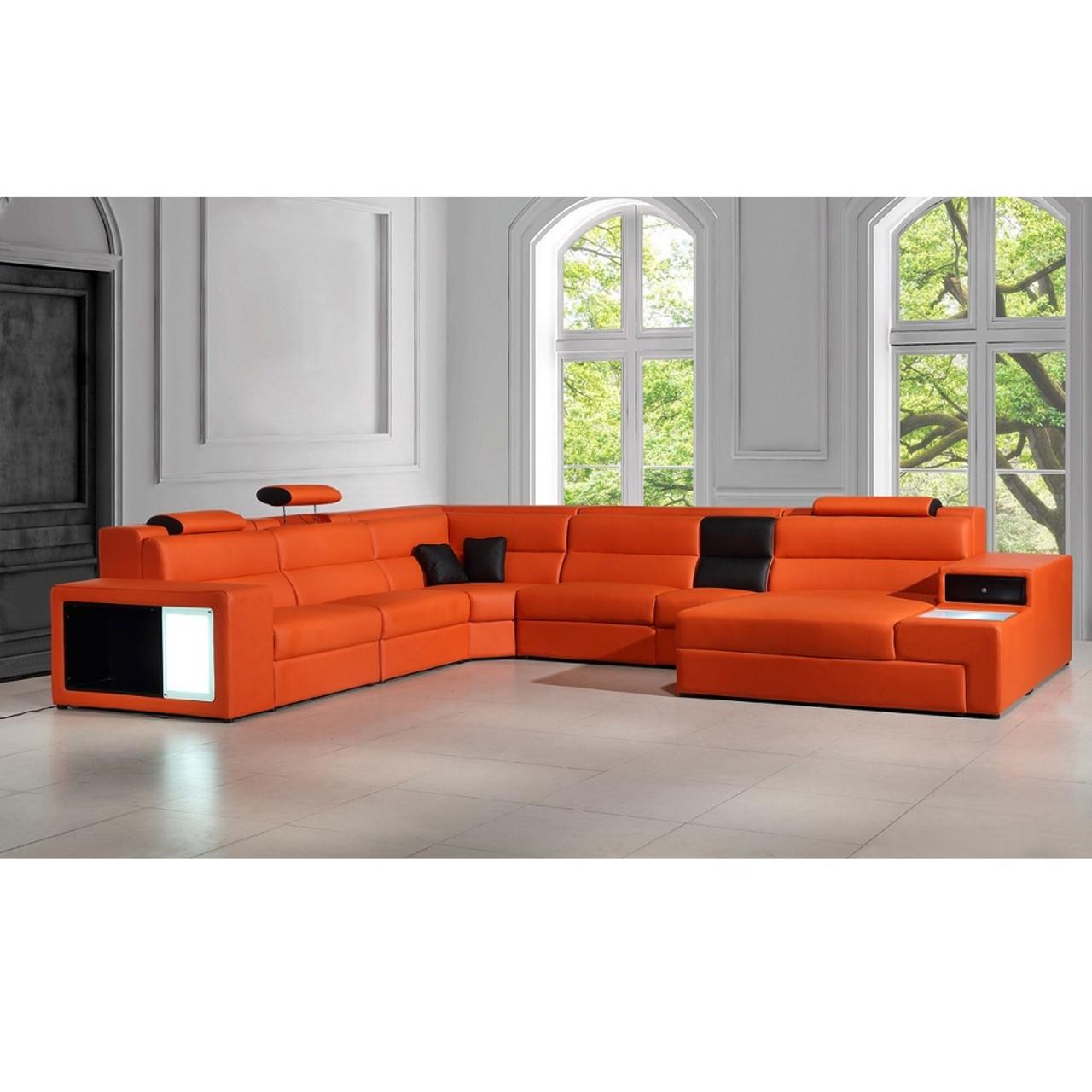 Wondrous Divani Casa Polaris Orange Contemporary Bonded Leather Sectional Sofa Machost Co Dining Chair Design Ideas Machostcouk