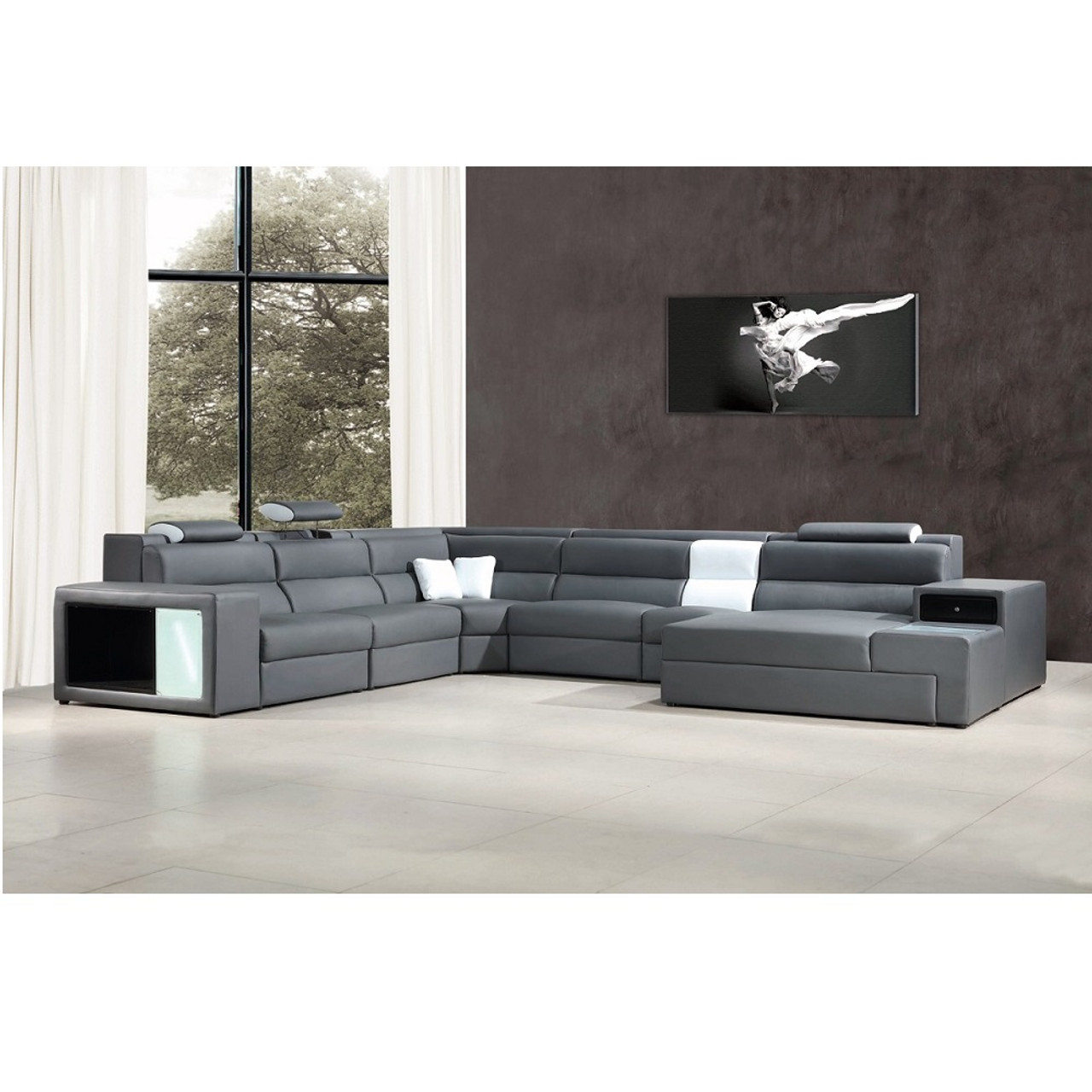 Divani Casa Polaris Grey Contemporary Bonded Leather Sectional Sofa With Lights