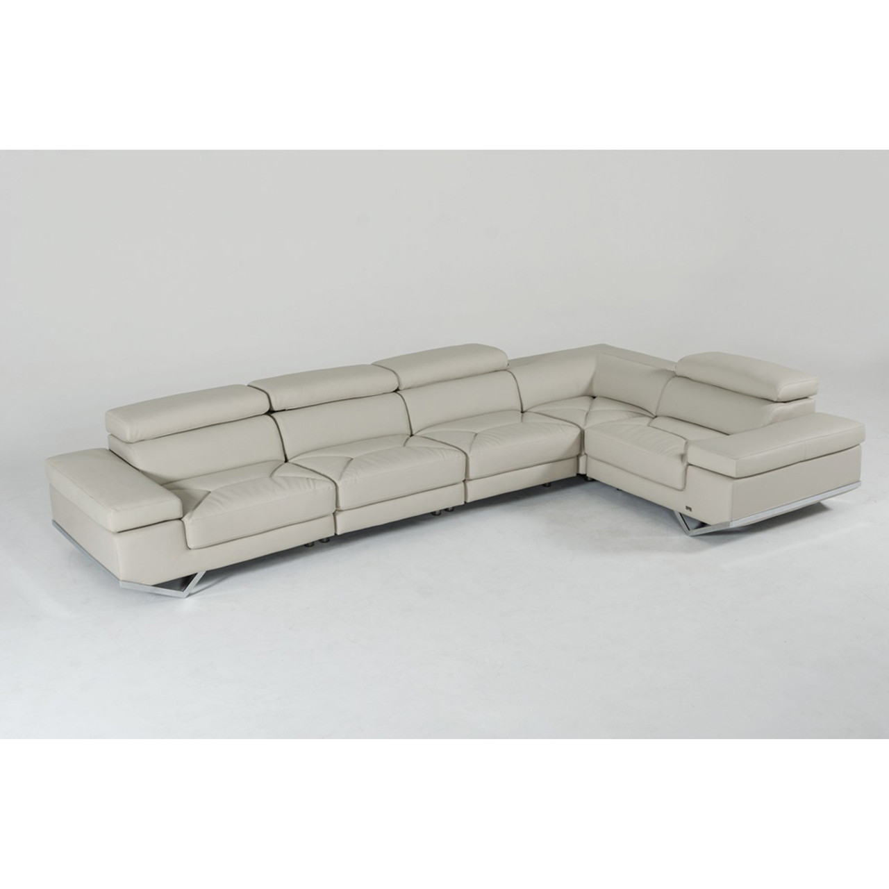 Divani Casa Kerria Modern Light Grey Eco-Leather Sectional Sofa