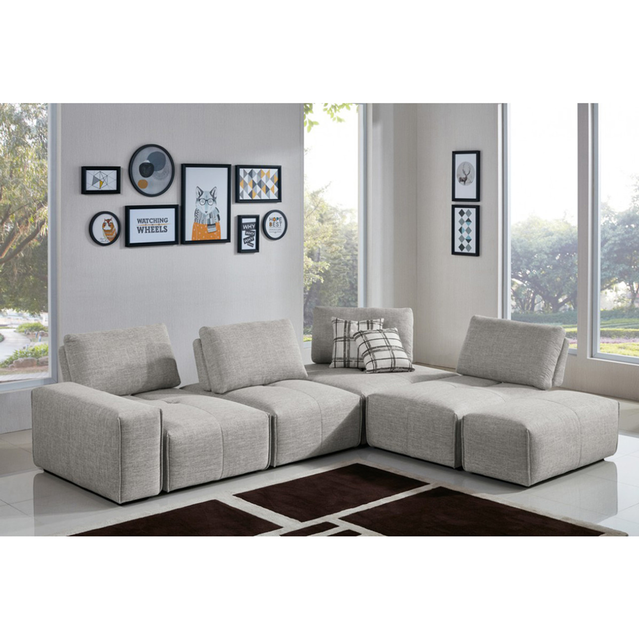 Stupendous Divani Casa Platte Modern Grey Fabric Modular Sectional Sofa Uwap Interior Chair Design Uwaporg