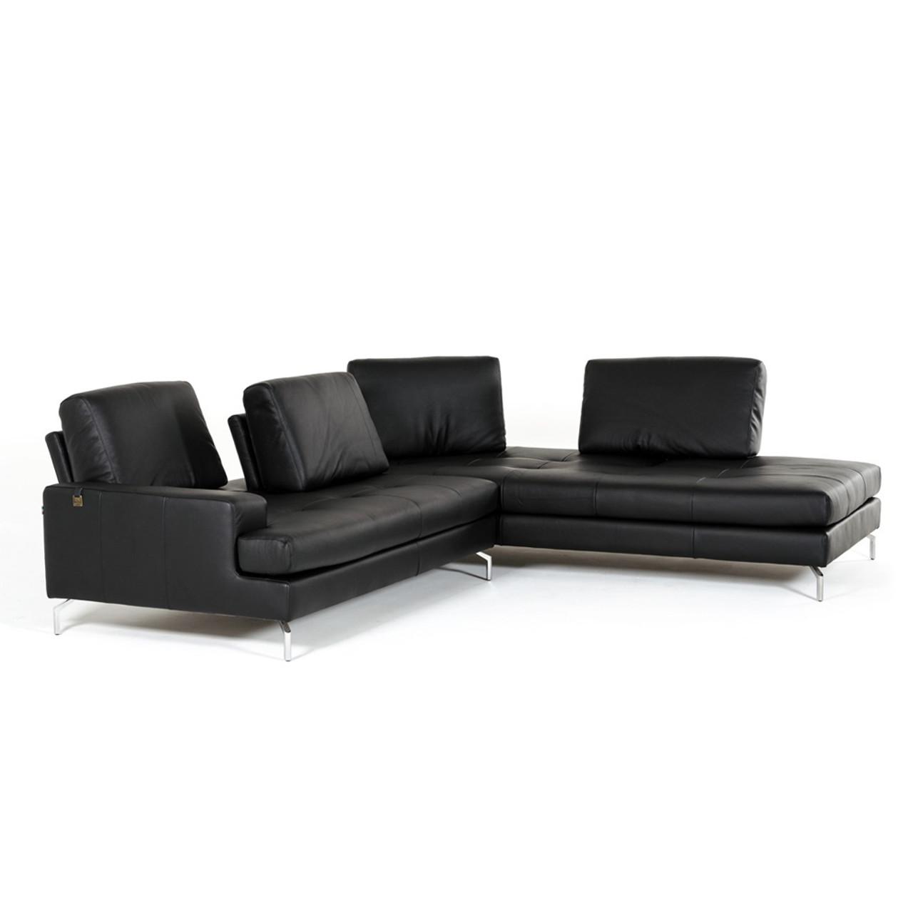 Estro Salotti Voyager Modern Black Leather Sectional Sofa Lounge La