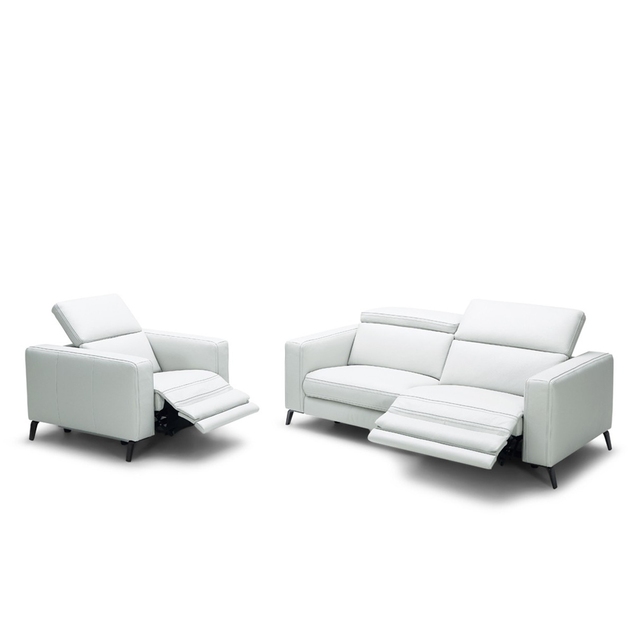 Divani Casa Roslyn Modern White Leather Sofa Set w/ Recliners