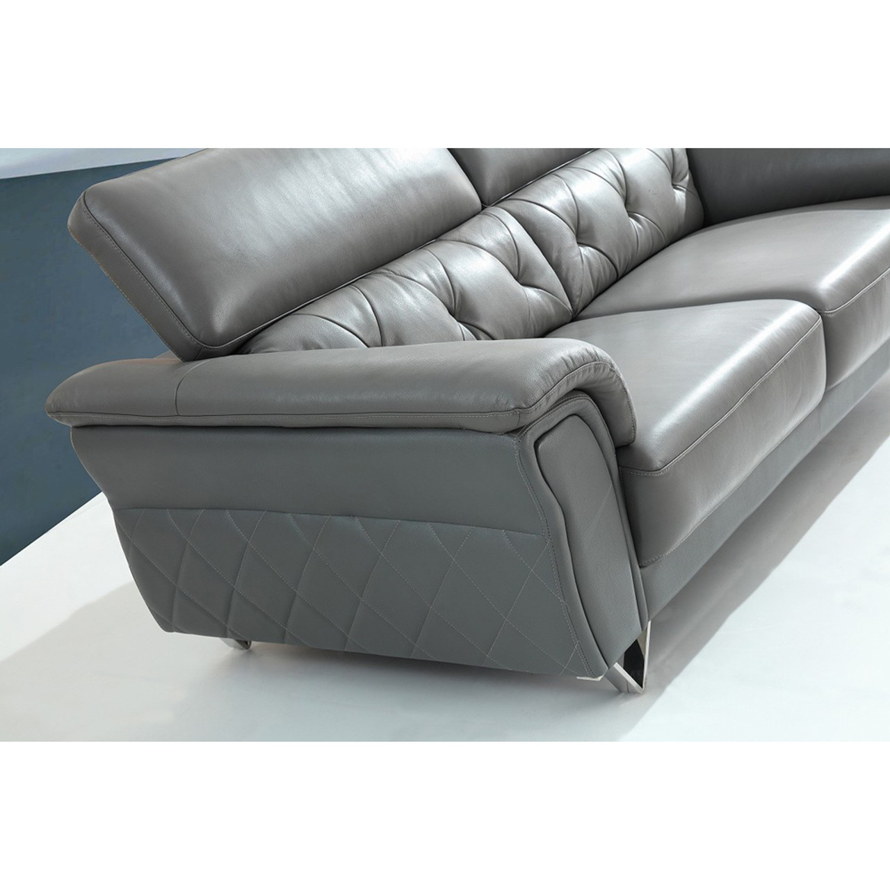 Remarkable Divani Casa Perry Modern Grey Leather Sofa Set Pabps2019 Chair Design Images Pabps2019Com