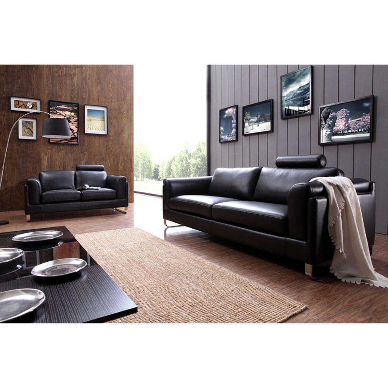 - Divani Casa 0875 Modern Black Leather Sofa Set - Lounge LA