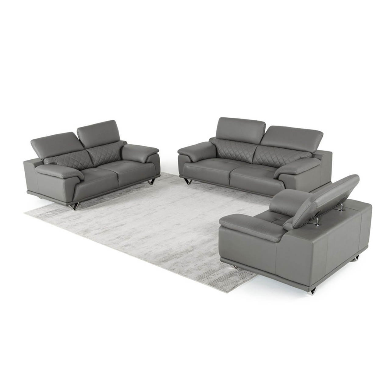 Marvelous Divani Casa Wolford Modern Grey Leather Sofa Set Unemploymentrelief Wooden Chair Designs For Living Room Unemploymentrelieforg