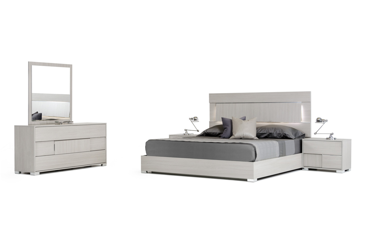 Modrest Ethan Italian Modern Grey Queen Size Bedroom Set - Lounge LA