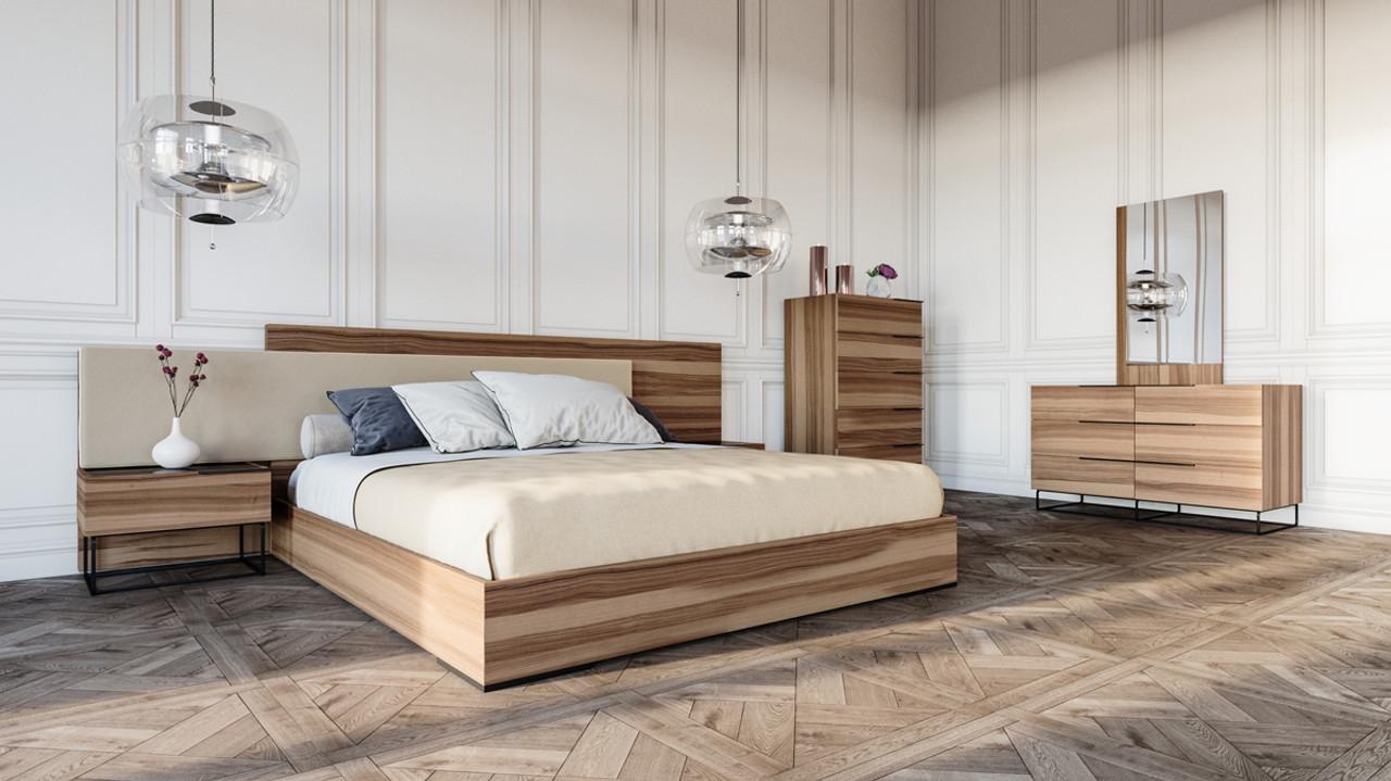 Nova Domus Matteo Italian Modern Walnut & Fabric Queen Size Bedroom Set