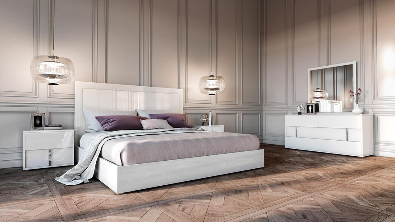Modrest Nicla Italian Modern White Queen Size Bedroom Set Lounge La