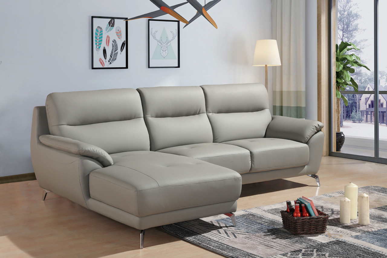 Wondrous Divani Casa Fortson Modern Grey Eco Leather Sectional Sofa W Left Facing Chaise Gamerscity Chair Design For Home Gamerscityorg