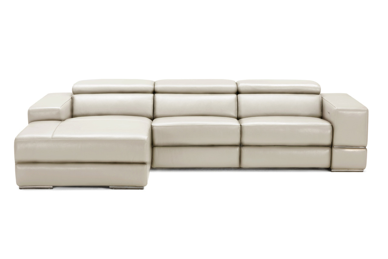 Divani Casa Hilgard Modern Light Grey Leather Sectional Sofa W Recliners Lounge La