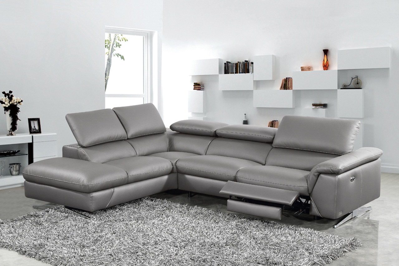 Divani Casa Maine Modern Dark Grey Eco-Leather Sectional Sofa w/ Recliner