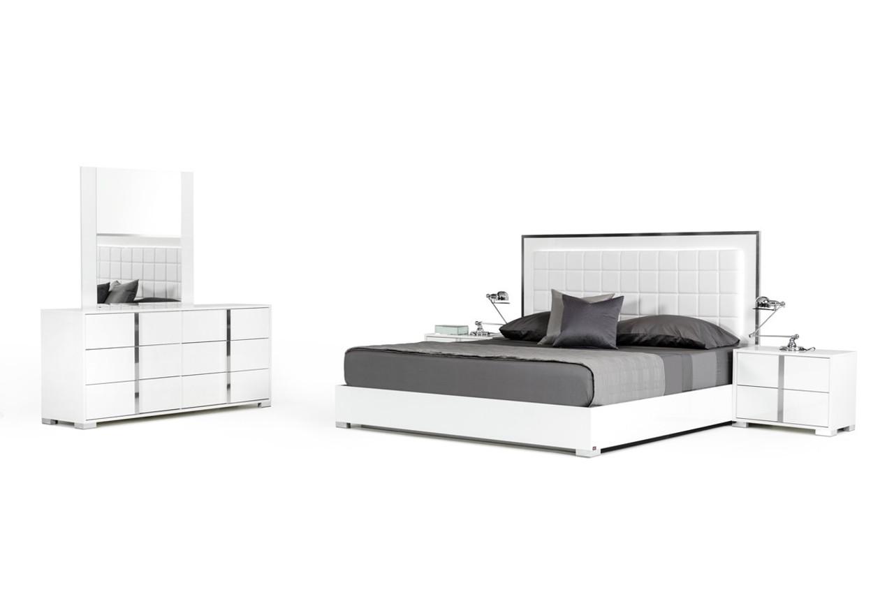 Modrest San Marino Modern White California King Size Bedroom Set Lounge La