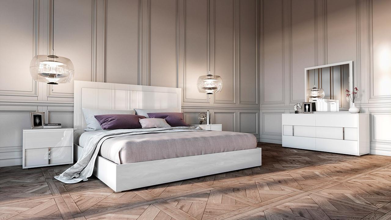 Modrest Nicla Italian Modern White King Size Bedroom Set