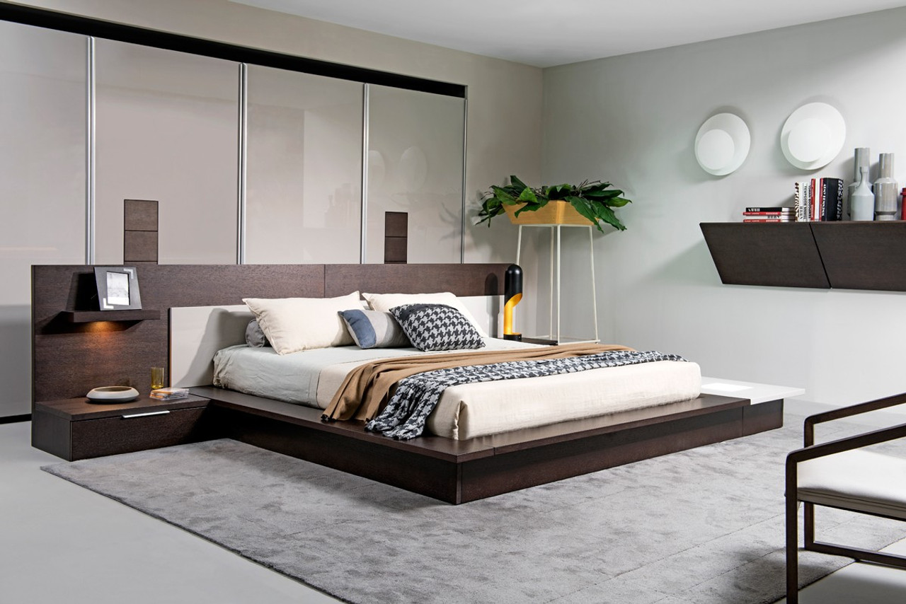 Miraculous Modrest Torino Contemporary Brown Oak Grey Platform King Size Bed W Lights Andrewgaddart Wooden Chair Designs For Living Room Andrewgaddartcom