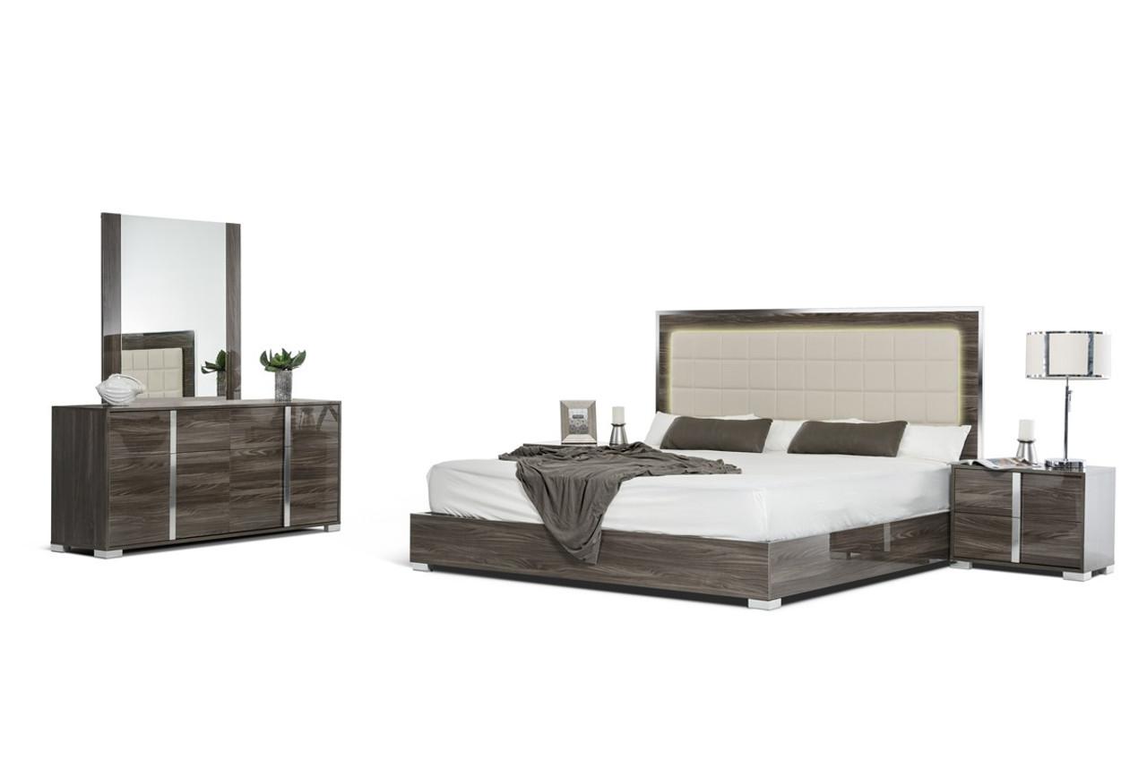 Modrest San Marino Modern Grey King Size Bedroom Set Lounge La