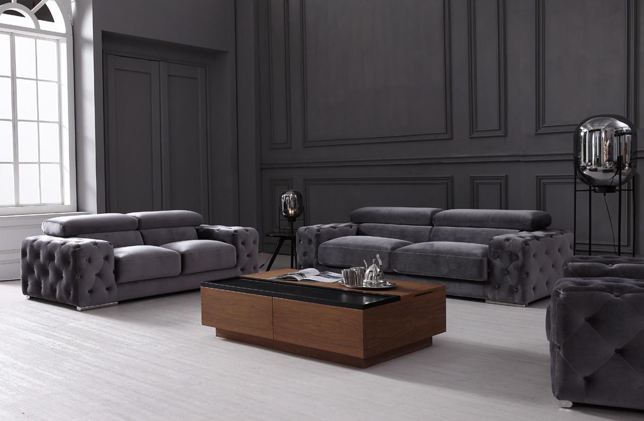 Divani Casa Trisha Modern Grey Fabric Sofa Set - Lounge LA