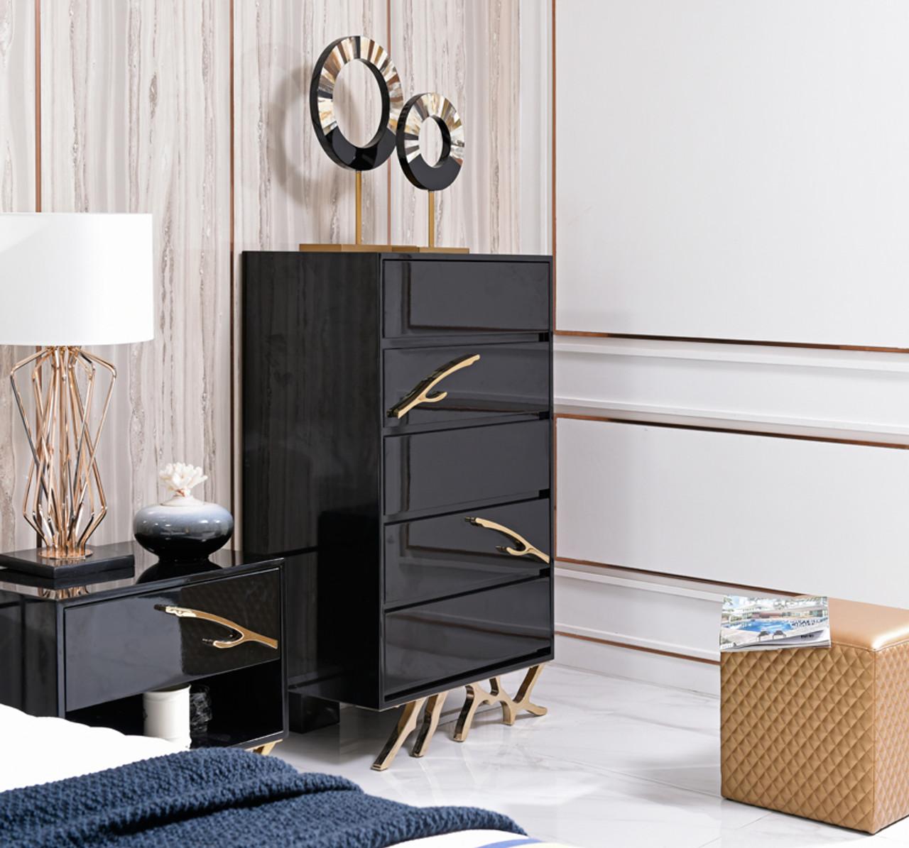 Modrest Legend Modern Black Gold Nightstand Lounge La
