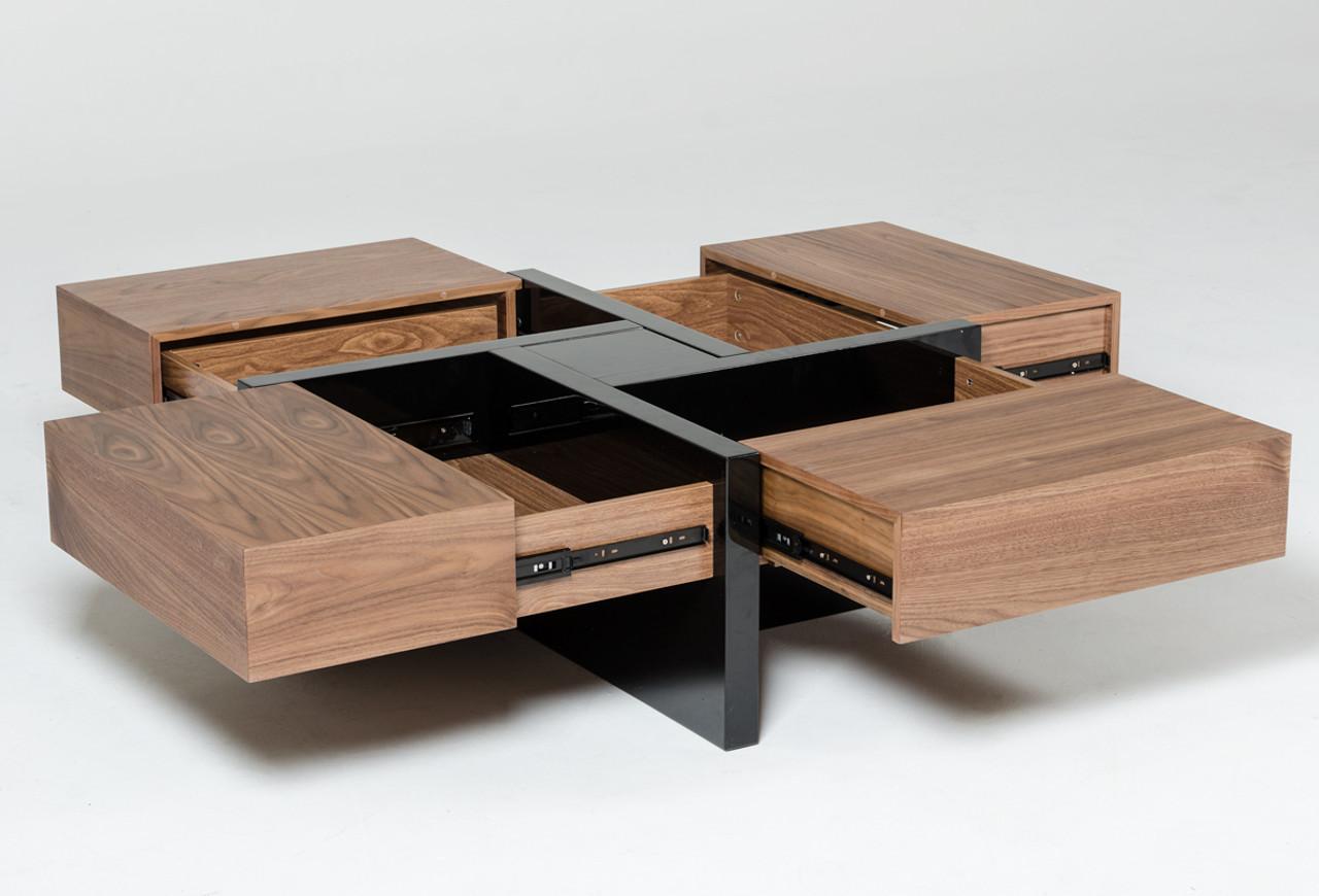 Modrest Makai Modern Walnut Black Square Coffee Table Lounge La