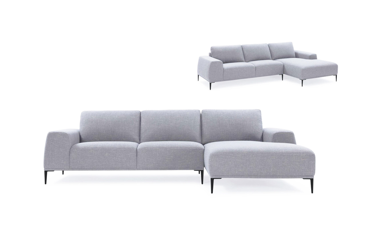 Terrific Divani Casa Arthur Modern Grey Fabric Sectional Sofa W Right Facing Chaise Short Links Chair Design For Home Short Linksinfo