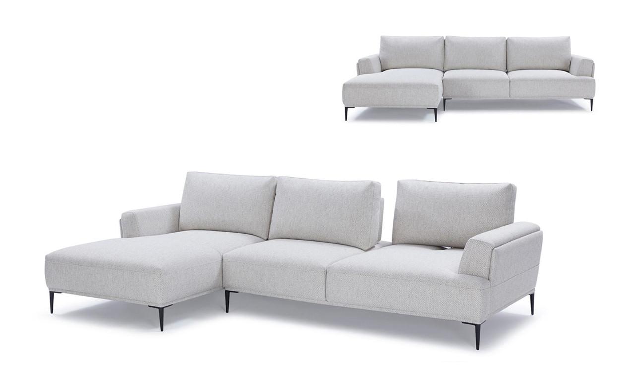 Divani Casa Hero Modern Grey Fabric Sectional Sofa w/ Left Facing Chaise