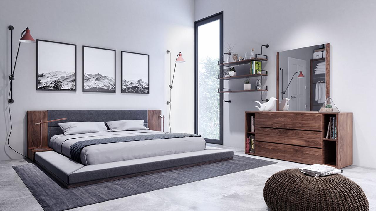 Nova Domus Jagger Modern Dark Grey Walnut Bedroom Queen Size Set