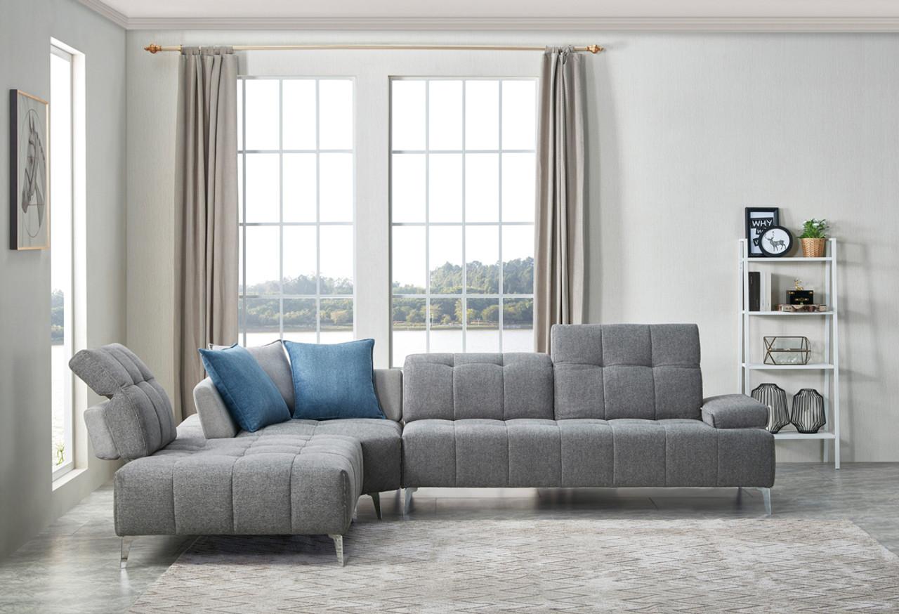 Divani Casa Nash Modern Contemporary Grey Tufted Fabric Sectional Sofa w/  Adjustable Backrest