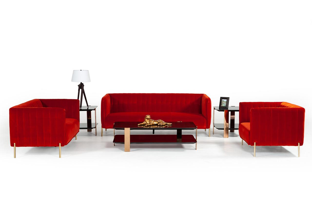 Divani Casa Karla Modern Red Orange Velvet Sofa Set