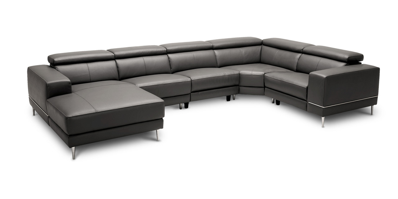 Groovy Divani Casa Wade Modern Dark Grey Leather Sectional Sofa W 2 Electric Recliners Pabps2019 Chair Design Images Pabps2019Com