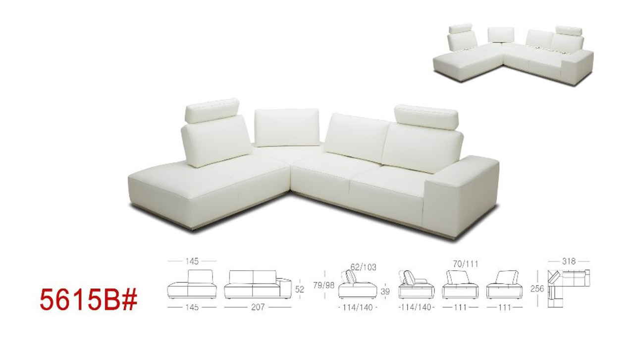 Divani Casa Martha Modern White Leather Sectional Sofa Lounge La