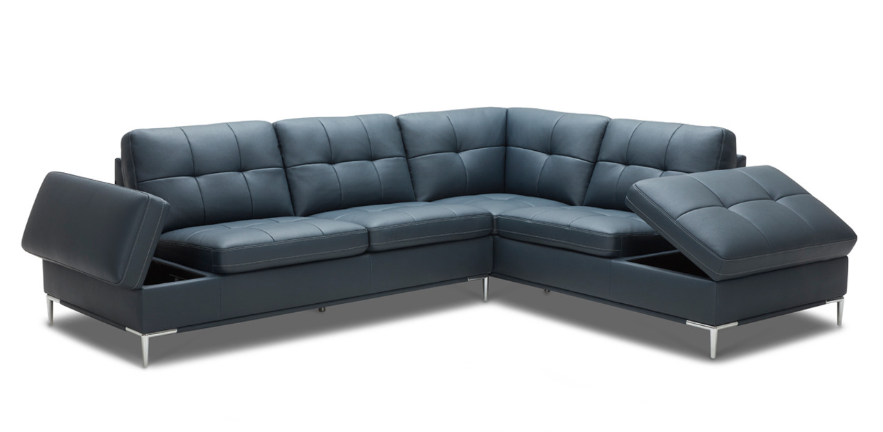 Divani Casa Lariat Modern Blue Eco-Leather Sectional Sofa