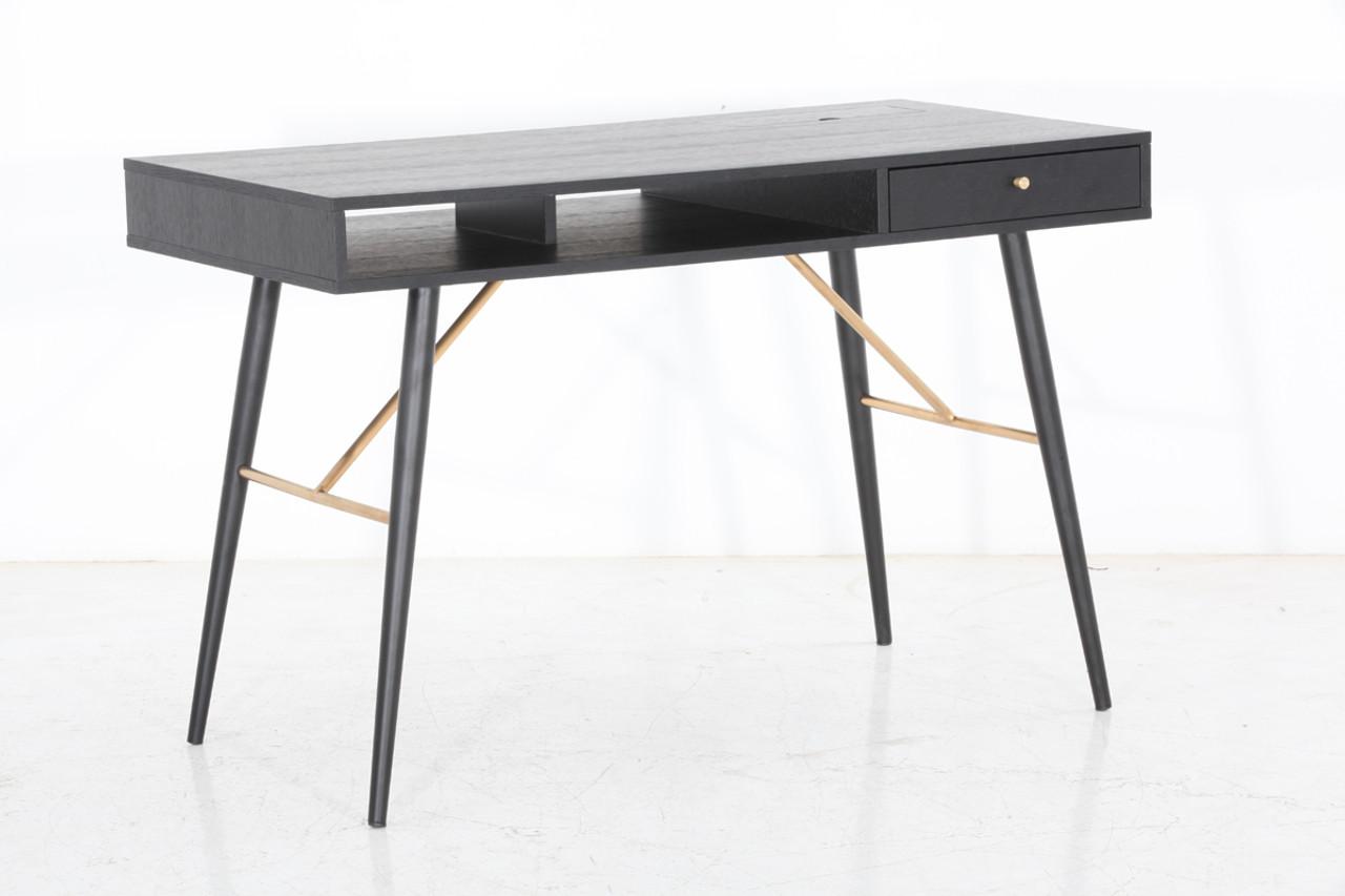 Image of: Modrest Billy Modern Black Oak Gold Desk Lounge La