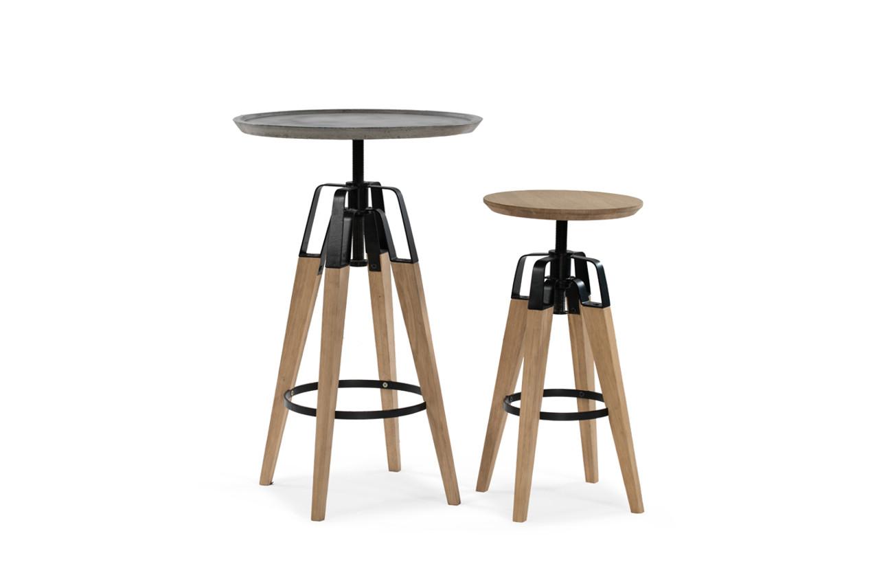 Modrest Yates Modern Concrete Oak Bar Table Lounge La