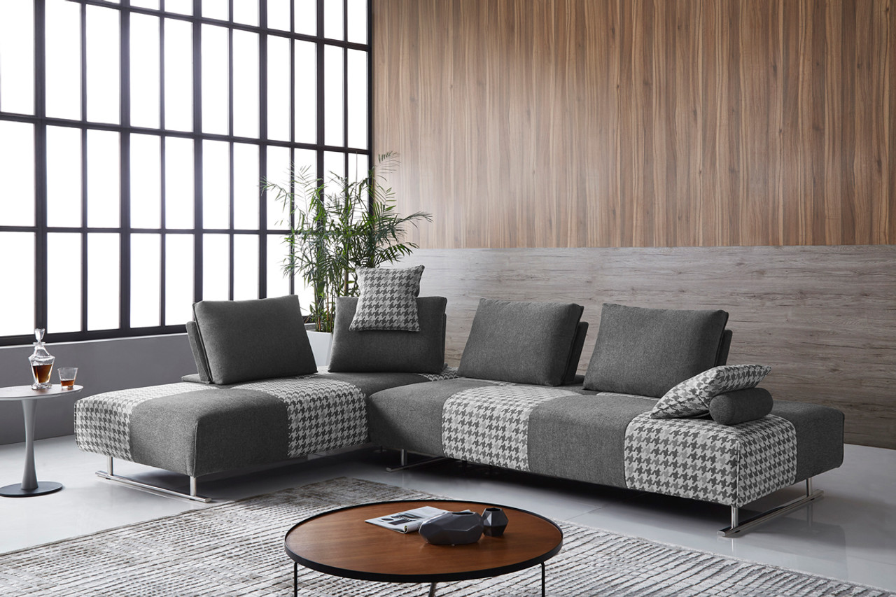 Divani Casa Cooke Modern Grey Houndstooth Fabric Modular Sectional Sofa Bed    Lounge LA
