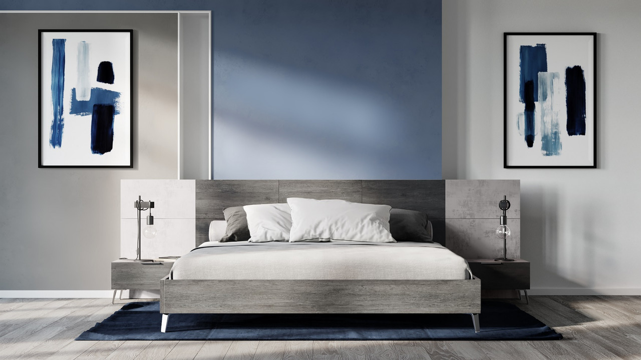 Nova Domus Bronx Italian Modern Faux Concrete & Grey Queen Bedroom Set