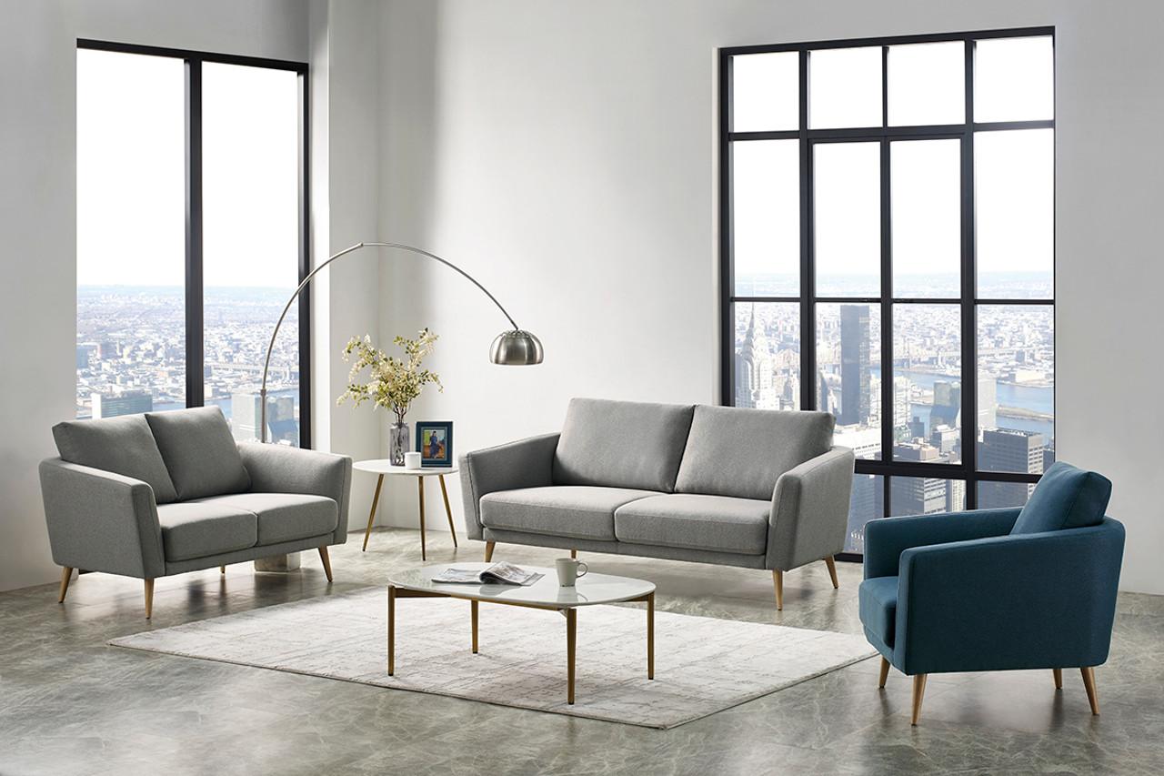 Divani Casa Benham Modern Grey Blue Fabric Sofa Set Lounge La